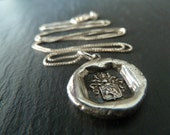 Wax Seal Crest Necklace.  Fine Silver Wax Seal Heraldry Jewelry