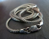 Mens Sterling Silver Chain Necklace, Silver Foxtail 1.7mm Round Chain. Men's Jewelry