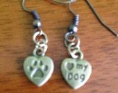 Dog Lover Jewelry I Love My Dog/Paw Print Earrings