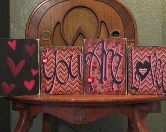 Valentines Day Decor, Valentines Day Sign, Love Sign, Valentines Day Word Art,  Valentine Blocks - You Are Loved