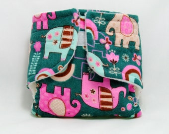 Baby Doll Diaper Elephants and Rainbows - Size Large