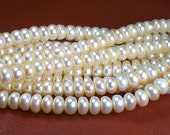 Ivory White Button Pearls 7-8mm Creamy White Freshwater Pearls AA+ 1/2 Strand