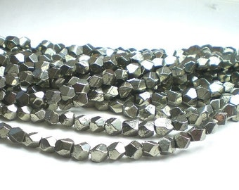 6mm Faceted Pyrite Nugget Beads Pyrite Beads 25 pcs.
