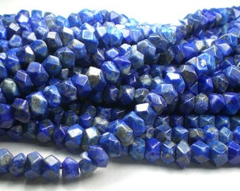 Lapis Lazuli Faceted Nugget Beads Blue Beads 8 Inch Loose beads