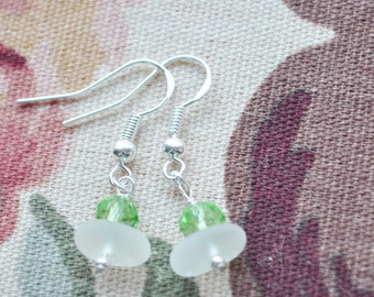 Genuine Sea Glass Delightful Beach Earrings White with Lime Crystals 3226C