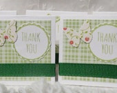 Mini Thank You Cards Green and White Checkers with Butterflies 38