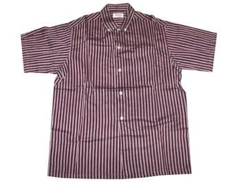 Vintage 1950s Red, Black and Grey Striped Men's Rockabilly Shirt Size 15-1/2 Medium DEADSTOCK Never Worn NOS