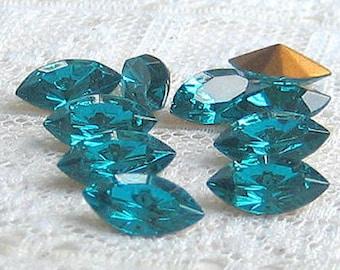10x5 mm Swarovski Glass Rhinestone Blue Zircon Navette Qty 10