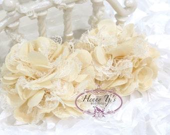 "2.75"" inch Shabby Chic Puff Chiffon Mesh and Lace Ruffled Fabric Flowers - IVORY CREAM"