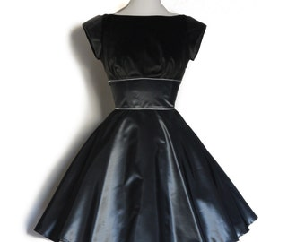 Size UK 12 - Slate Grey Taffeta & Velvet Party Dress - Made by Dig For Victory