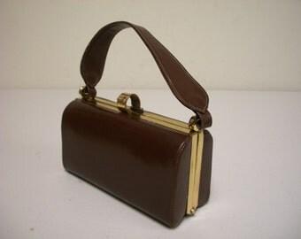 Vintage 1950s FULTON Luggage Brown Leather Box Handbag with Top Handle