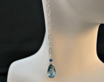 AAA Swiss blue quartz faceted pear briolette gemstone earrings;swiss blue gemstone earrings,long dangle earrings,drop earrings,swiss blue