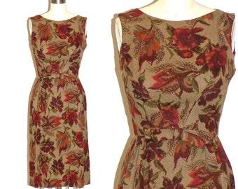 Jacques Heim 50s Dress, 1950s Wool Wiggle Dress, Autumn Floral Dress for Bonwit Teller, XS