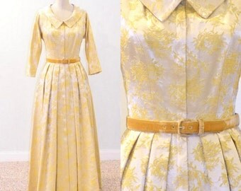 Hattie Carnegie 50s Dress, Gold Satin Brocade 1950s Hostess Evening Dress, Small