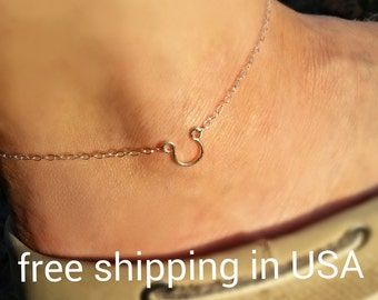 sterling silver horseshoe anklet FREE SHIPPING