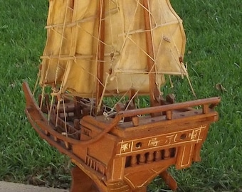 Model Ship Minature Chinese Handmade Shanghai PIrate Treasure Wood 3 Sail Canvas Working Parts Pre-Mao 1930s Folk Art