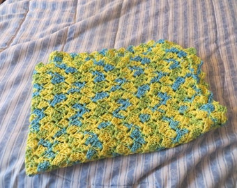 Crochet Lemonade Baby Blanket 100 percent cotton in color of yellow, blue and green