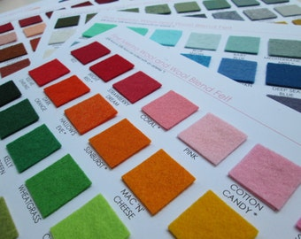 Wool Felt Swatch Card Set - 192 Amazing Colors  (Plus you get a 5 dollar shop credit with purchase)