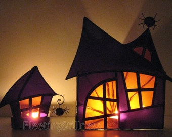 PAIR Halloween Stained Glass Candle Holders Halloween Decoration Haunted Mansion Wicca Purple Orange Handmade OOAK