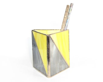 Geometric Pencil Holder Stained Glass Chevron Triangle Gray Yellow Handmade OOAK