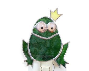 Frog Princess Night Light Stained Glass Green Nursery Night Light Happy Frog Handmade Nightlight