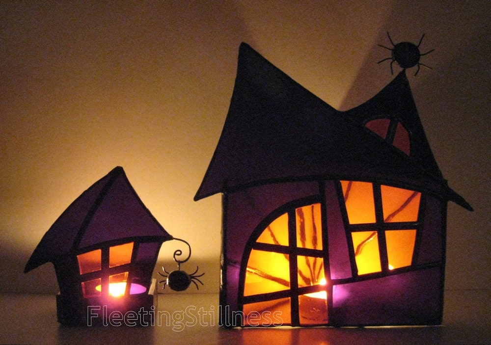 Pair Halloween Stained Glass Candle Holders Halloween