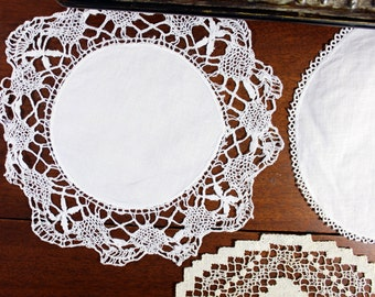 3 Crocheted and Linen Doilies - Mixed Doily Lot in Whites - 12098