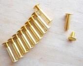 3/4 inch GOLD Scrapbook Screw Posts set of 10 aluminum posts