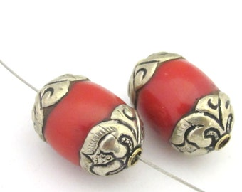 2 Beads - Large thick Tibetan silver capped coral bead - BD676