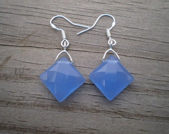 Faceted Blue Glass French Hook Earrings