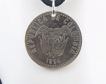 Colombia Coin Necklace, 50 Pesos, Coin Pendant, Leather Cord, Mens Necklace, Womens Necklace, Coin Jewelry, Birth Year, 1994
