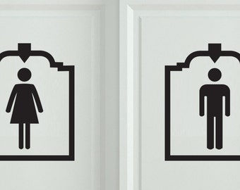 2 pcs men women restroom bathroom sign vinyl sticker men women vinyl sticker wall art deca