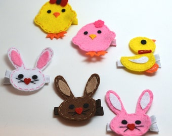 Spring Easter Themed Felt Hair Clippie - You Pick Your Favorite Design
