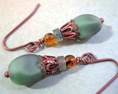 Mossy Hillside Earrings Green Frosted Glass Antiqued Copper Vintage Beads Amber Moss Agate Filigree
