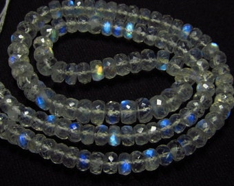 16 inches Long - AAAA - High Quality - RAINBOW MOONSTONE - Faceted Rondelle Beads Amazing Gorgeous Blue Fire size 5 - 6. 5 mm - - 104.00 cts