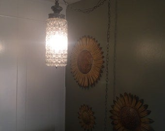 Vintage glass hanging lamp