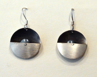 Sterling Silver Constructed Earrings With Hematite Bead