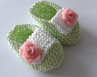 Baby girl loafers - apple green hand knit loafers/ baby shoes with white straps and pink felt flowers - ready to ship