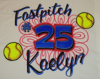 Airbrush Fastpitch Softball Pillowcase w/ Name & Number Airbrushed Pillow Case