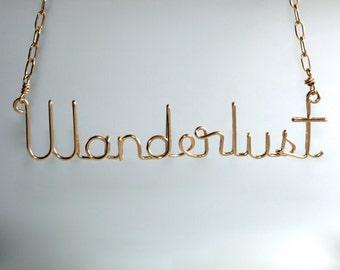 Wanderlust Jewelry * Wire Name Necklace * Wanderlust * Travel Jewelry * Travel Necklace * Wire Word Art * Travel Love * Wanderlust Necklace
