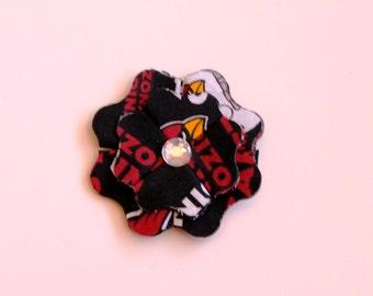 Arizona Cardinals Fabric Flower Clip with Rhinestone Center