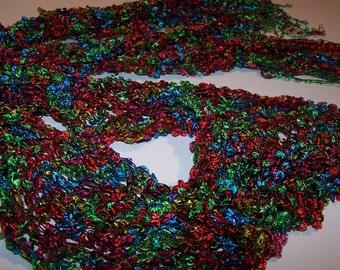SALE 30% OFF Ladder Yarn Scarf in Red Fuchsia Aqua Lime; Skinny Scarf Knit in Trellis Yarn; Pretty and Practical Fashion Accessory
