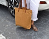 BROADWAY St. TOTE BAG Hand Made, Gold Canvas Tote Bag,Mens canvas tote bag,  Canvas Shoulder Tote Bag