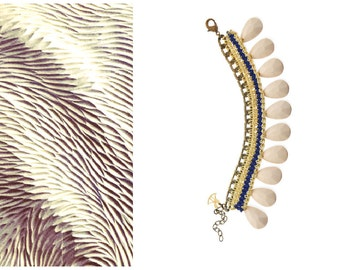 Cream White Drop Bead Bracelet, Boho Hippie Ethnic Bracelet, Wide Cuff Artisan Crochet Bracelet