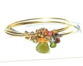 Rainbow Gemstone Bracelet / 14K Gold / Triple Bangles / Boho / Green Garnet / Pink Sapphire / Blue Topaz / Red / Gifts For Her / OOAK