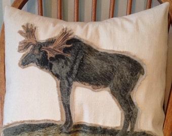 Linen Moose Throw Pillow Cover