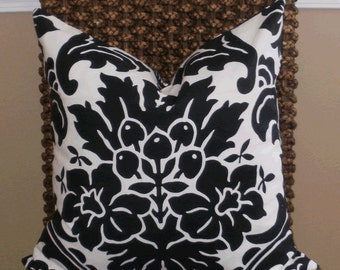 Decorative Pillow: 20 X 20  Designer Accent Pillow Cover in Large Black and White Damask