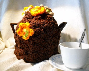 Teapot Cozy Crocheted Covered with flowers