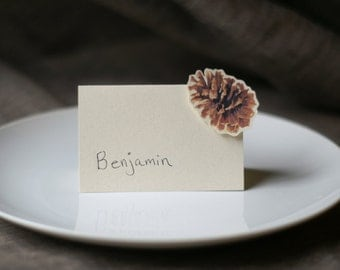 Pine Cone Place Card - Pine cone Escort Cards - Table Number Card - Menu Card - pine cone wedding