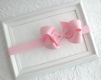 Baby Headband, Lt Pink Bow Headband, Infant Headband, Newborn Headband, Bow Headband, Pink Bow Headband, Pink Hair Bow, Pink Baby Headband
